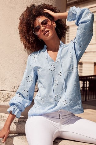 Lipsy Blue Embroidered Smock Top