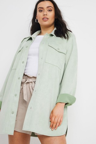 Simply Be Green Suedette Shacket