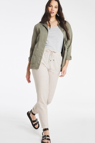 Simply Be Brown Linen Blend Jogger