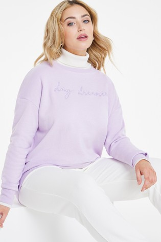 Simply Be Purple Embroided Crew Neck Sweatshirt