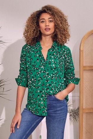 Love & Roses Green Animal Patch Pocket Shirt