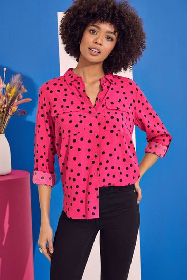 Love & Roses Pink Spot Patch Pocket Shirt
