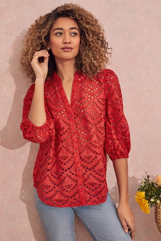 Love & Roses Red Frill Neck Blouse