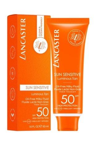 Lancaster Sun Sensitive Oil-Free Milky Face Fluid Sunscreen & Sun Protection Cream SPF50 50ml