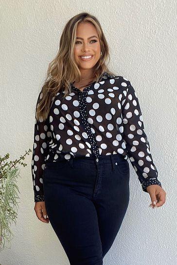 Lipsy Mono Spot Plus Curve Printed Shirt