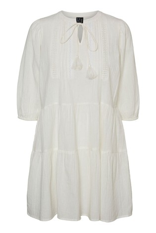 Vero Moda Snow White Tiered Embroidered Smock Dress