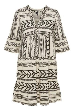 Vero Moda Black and White Aztec Print V Neck Smock Dress