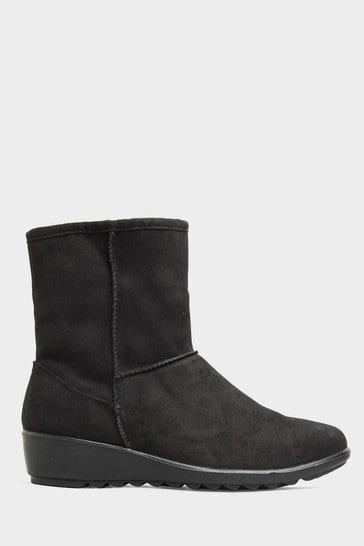 Yours Black Vegan Suede Wedge Heel Boots In Extra Wide Fit