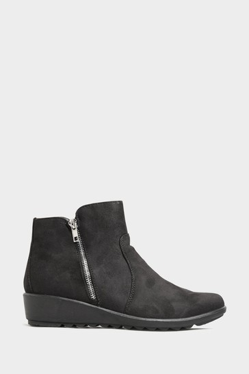 Yours Black Vegan Suede Wedge Heel Ankle Boots In Extra Wide Fit
