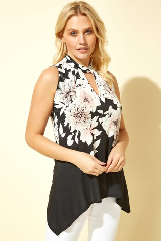 Roman Black Floral Twist Neck Vest Top