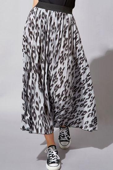 Roman Grey Pleated Maxi Skirt
