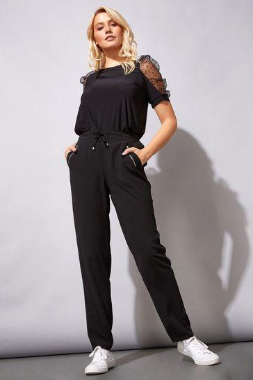 "Roman Black 27"" Tie Front Jogger"