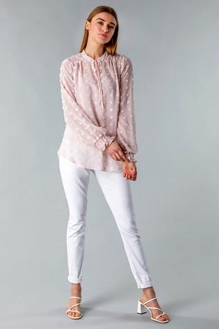 Roman Light Pink Textured Spot Blouse with Cami Top