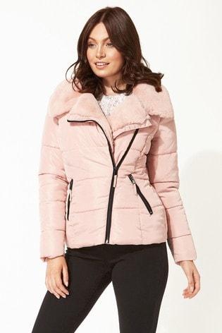 Roman Pink Faux Fur Collar Padded Biker Coat