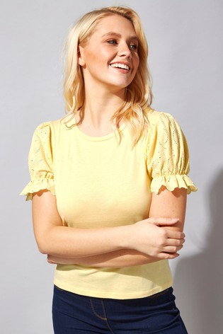 Roman Yellow Embroidered Puff Sleeve T-Shirt