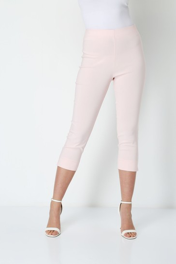 Roman Light Pink Cropped Stretch Trouser
