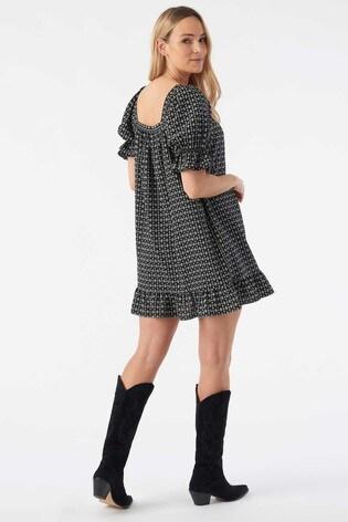 Rae Black Print Mia Puff Sleeve Swing Dress