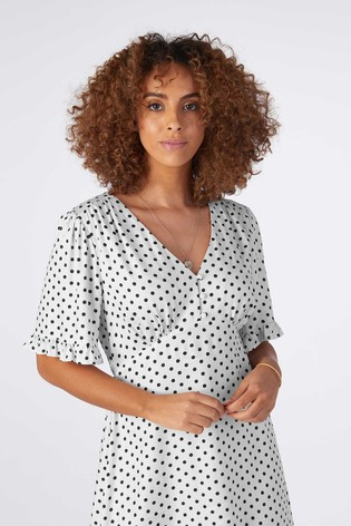 Rae Monochrome Spot Rosie Midi Tiered Tea Dress