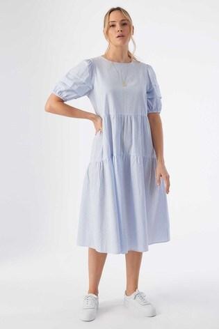 Rae Blue Stripe Jade Pleat Sleeve Tiered Midi Dress