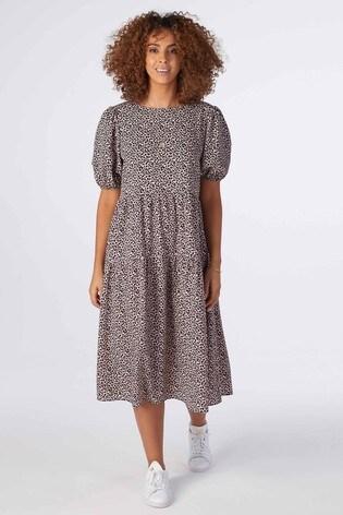 Rae Blush Animal Jade Pleat Sleeve Tiered Midi Dress