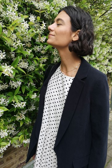 Rae Monochrome Spot Jade Pleat Sleeve Tiered Midi Dress