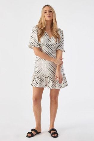Rae Monochrome Spot Poppy Ruffle Hem Mini Tea Dress
