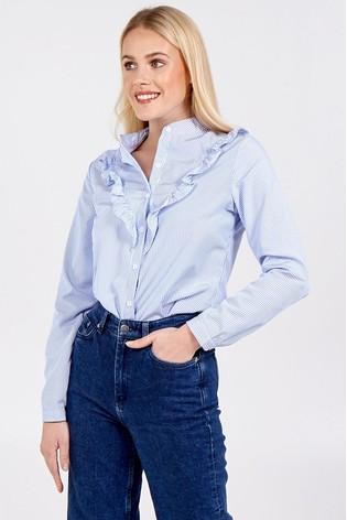 Blue Vanilla Blue High Neck Frill Detail Shirt