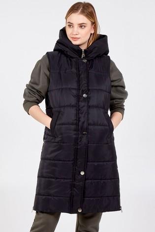Blue Vanilla Black Zip Front Hooded Vest