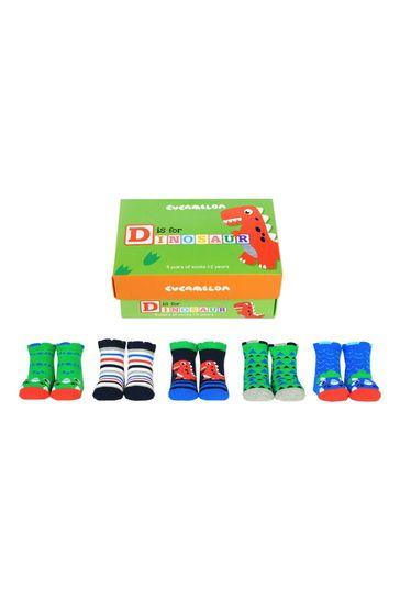 Cucamelon D is for Dinosaur Childrens Pack of 5 Socks