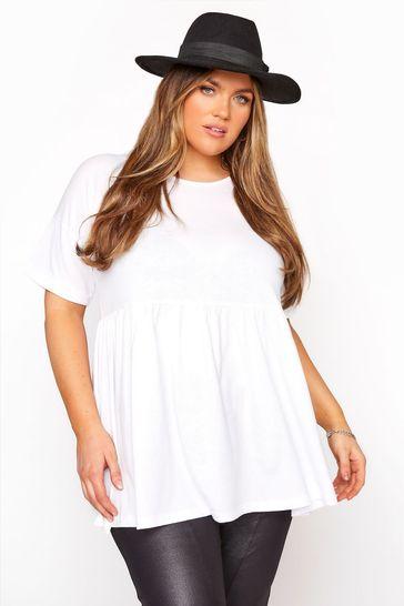 Yours White Curve Drop Shoulder Peplum Tunic