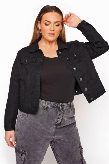 Yours Black Curve Distressed Denim Jacket
