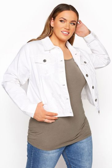 Yours White Curve Distressed Denim Jacket