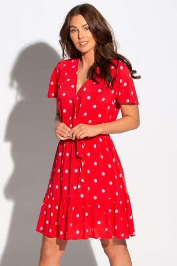 Pour Moi Red & Pink Wrap Front Tiered Woven Beach Dress