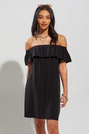 Pour Moi Black Textured Woven Bardot Beach Dress