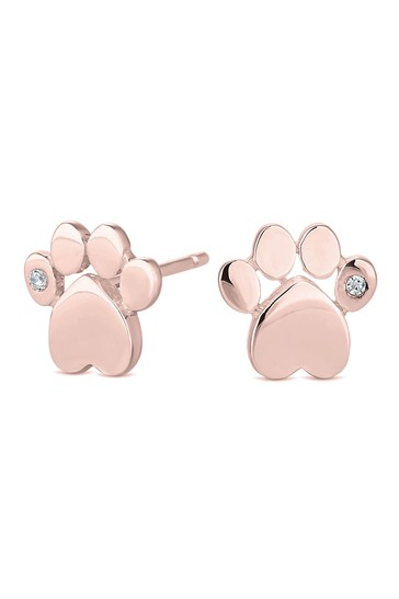 Simply Silver 14ct Rose Gold Cubic Zirconia Paw Print Stud Earring