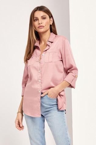 Lipsy Blush Pink Tencel Regular Relaxed Supersoft Utility Shirt