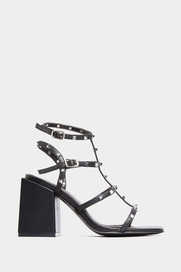 Yours Limited Black Faux Leather Stud Heeled Sandals In Extra Wide Fit