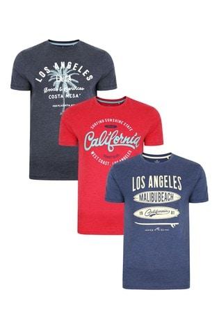Threadbare Navy Denim Red 3 Pack Front Print T Shirts