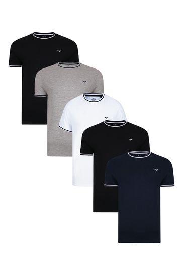 Threadbare Black Navy Grey Marl White 5 Pack Gazi Cotton T Shirts
