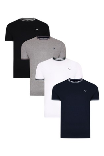 Threadbare Black Navy Grey Marl White 4 Pack Warrick Cotton T Shirts
