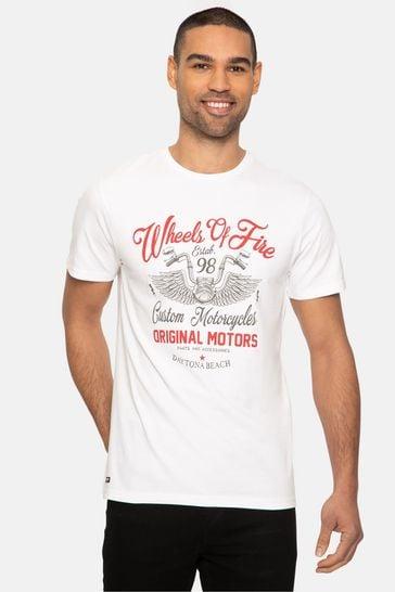 Threadbare White Wheels Front Print Cotton T Shirt