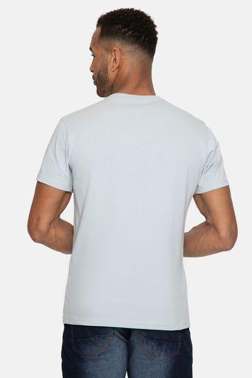 Threadbare Blue Yates Front Print Cotton T Shirt