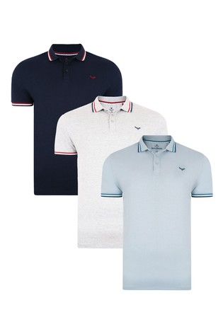 Threadbare Grey Marl 3 Pack Hedland Cotton Polo Shirts