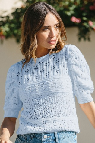 Lipsy Blue Regular Cotton Pointelle Puff Sleeve Knitted Jumper