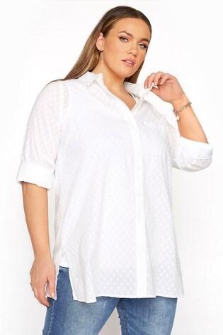 Yours White Dobby Boyfriend Shirt
