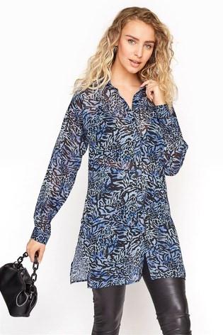 Long Tall Sally Blue Mixed Animal Longline Chiffon Shirt