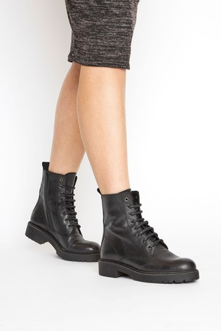 Long Tall Sally Black Lace Up Leather Boots