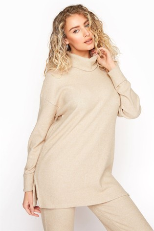 Long Tall Sally Neutral Longline Co-ord Lounge Top