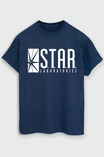 Brands In Navy Mens Logo T-Shirt by DC Comics