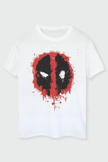 Brands In White Mens Deadpool Splat Face T-Shirt by Marvel